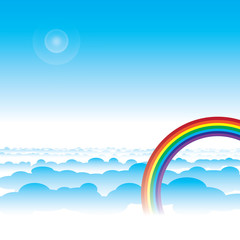 Rainbow and blue sky with cloud layers vector