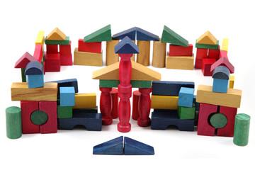 color wooden bricks castle