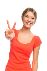Victory or peace gesture