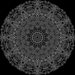 Lace ornamental circle on black background