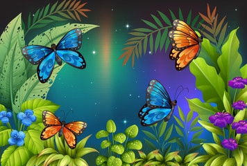 Autocollant pour porte Papillons Butterflies in the garden