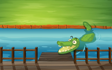 A crocodile and a bench