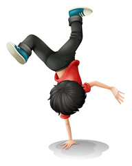 A young boy balancing