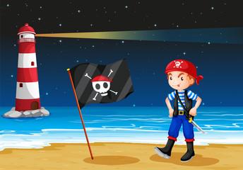 Foto op Plexiglas Piraten A pirate and the sea parola