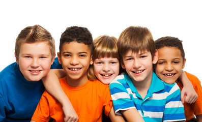 Five kids close-up portrait