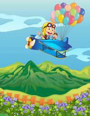 Acrylic Prints Airplanes, balloon Monkeys on a plane with balloons