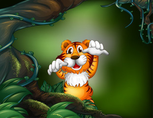A tiger in a scary forest