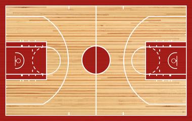 Obraz Basketball court floor plan on parquet background - fototapety do salonu