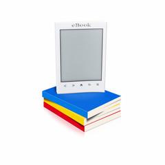 Ebook als Buch auf Buchstapel