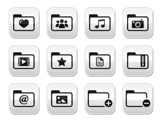 Folder documents music film buttons set