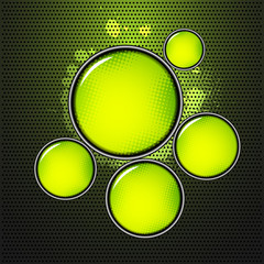 abstract shiny green circles on metal background