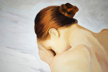 crying sad girl, painting, illustration