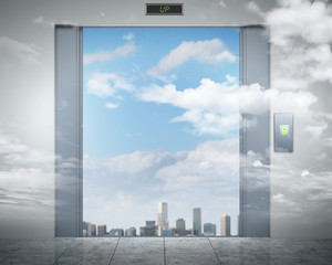elevator doors and the natural landscape