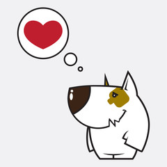 Cartoon dog character and heart