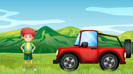 Photo sur Aluminium Voitures enfants A red jeepney and a boy in the hills