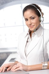 Confident customer care representative