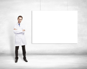 doctor and blank poster