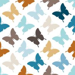 Seamless Pattern Butterflies Retro