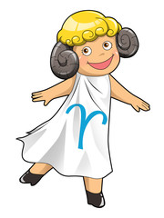 Cartoon style illustration of zodiac symbol, Aries