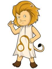 Cartoon style illustration of zodiac symbol, Leo
