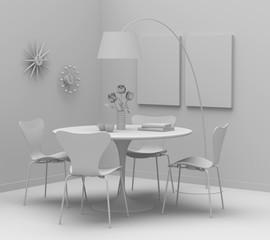 Home interior design, retro furniture. Clay render