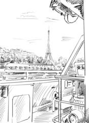 Foto op Canvas Illustratie Parijs Street in paris -sketch illustration