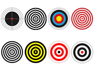 Set of eight targets, isolated on white,vector