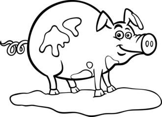 farm pig cartoon for coloring book