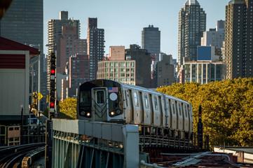 Subway Train Above Ground in New York