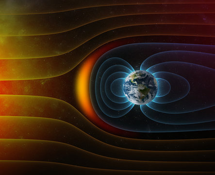 planet Earth's magnetic field against Sun's solar wind