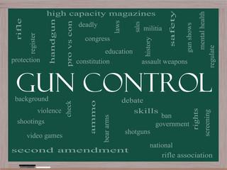 Gun Control Word Cloud Concept on a Blackboard