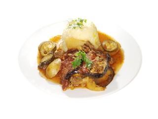 Eggplant dish, fried vegetables
