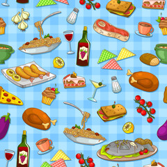 seamless pattern with delicious food
