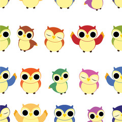 Vector owl seamless pattern