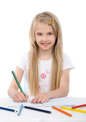 Cute girl draw with colorful pencils. isolated