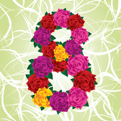 Colorful eight of roses on a green background