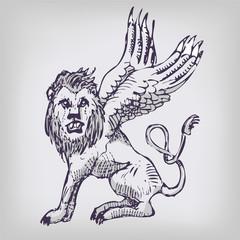 Zeichnung Löwe und Chimäre