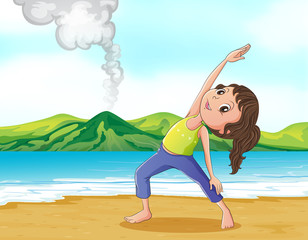 A woman exercising at the beach