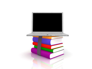 Professional Laptop with books and blank display
