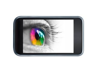 Oeil multicolore sur un écran de téléphone portable
