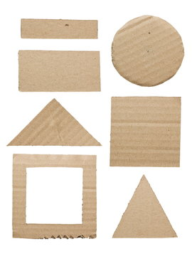 Geometry cut cardboard isolated on white