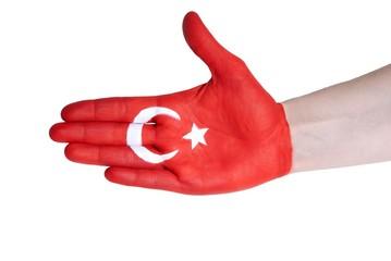 handshake with turkish flag
