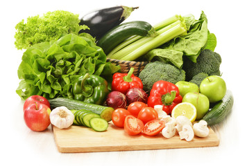 Canvas Prints Fresh vegetables Composition with raw vegetables isolated on white