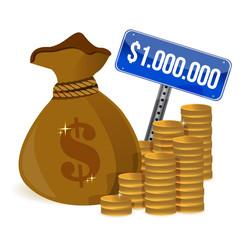 one million dollar money bag