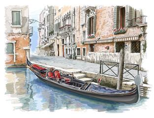 Venice. Ancient building & gondola