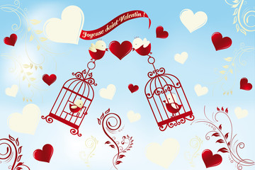 Wall Murals Birds in cages Valentine's Day card in French