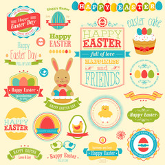 Wall Mural - Easter set - labels, ribbons and other elements.