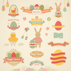 Wall Mural - Easter set - labels, emblems and other elements.