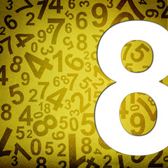 Number eight on fabric texture background
