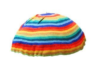 Rainbow rasta cap. Homemade knitted product.